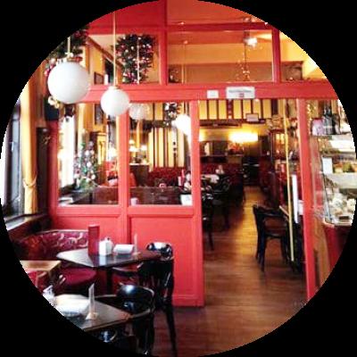 Foto vom Innenraum des Café Harlekin in Mistelbach